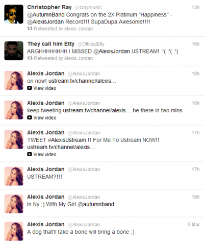 Alexis Jordan: Tweets (and Retweets) of the 5th March 2012