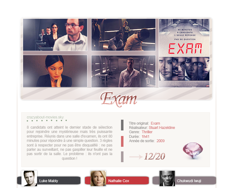 Exam de Stuart Hazeldine avec Luke Mably, Nathalie Cox et Chukwudi Iwuji