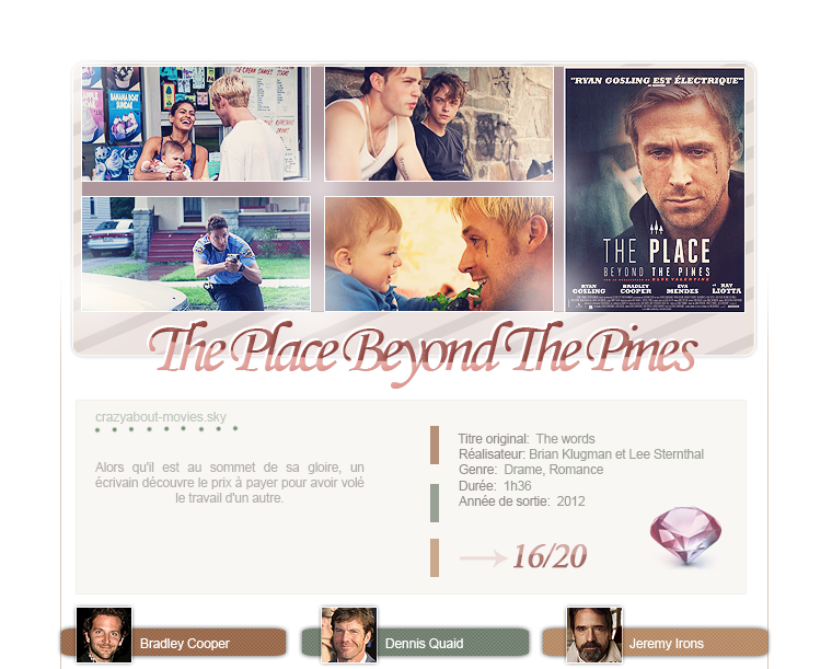 The Places Beyond The Pines de Derek Cianfrance avec Ryan Gosling, Bradley Cooper, Eva Mendes, Rose Byrne, Dane DeHaan et Bruce Greenwood