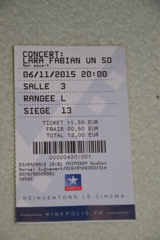 "ticket cin�ma concert  Lara Fabian ""Un soir autour du monde "" � Prague"