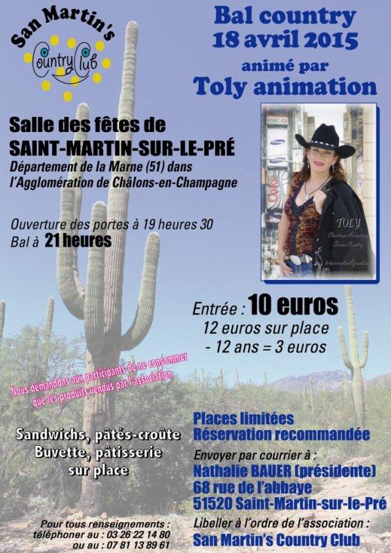 51000 DANS L'AGGLOM�RATION DE CH�LONS-EN-CHAMPAGNE, BAL COUNTRY LE 18 AVRIL
