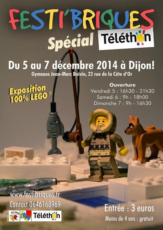 Prochaine exposition 100% Lego Festi'briques et le Téléthon 5-7 décembre 2014 DIJON