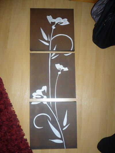 tableau fleur en 3 parties