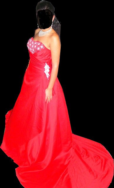 tres belle robe mari e rouge avec traine 1m50 nadia