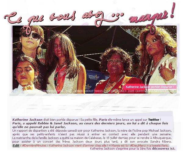 """. 29/07/12 : Paris a �t� vue avec Royal Jackson et ses BodyGuards quittant la librairie � Los Angeles. Les news ont �t� ratrap�es, de plus n'oubliez pas de voir en dessous de l'article """"Ce que vous avez manqu�"""". ."""