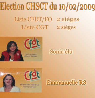 Election chsct section cfdt carrefour le merlan for Election chsct