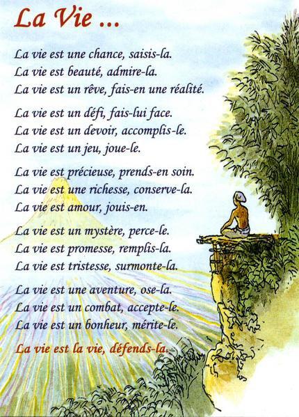 Tres Jolie Texte De La Vie J Aime La Vie Un Monde Fait D Amour