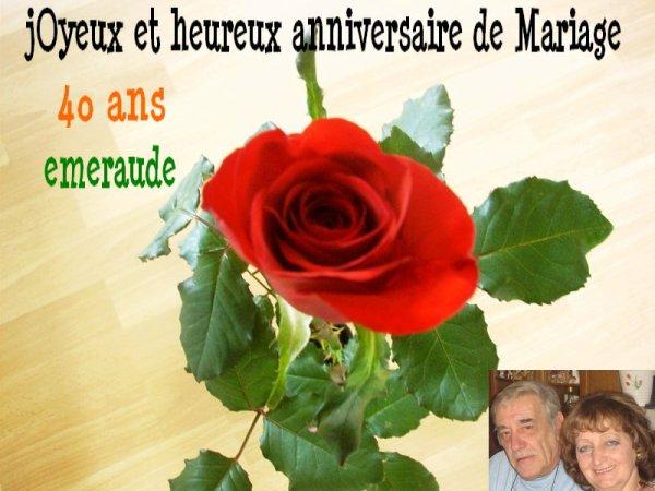 40 ans noces d emeraude bravo papa maman je vous souhaite la bienvenue et bonne visite - 30 ans de mariage noce de quoi ...