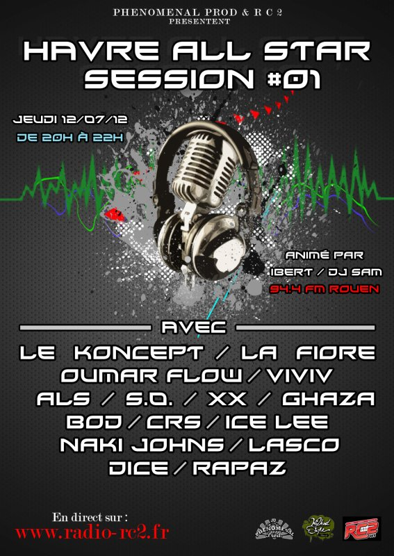 Session radio Havre All Stars jeudi 12 Juillet de 20h � 22h sur radio RC2