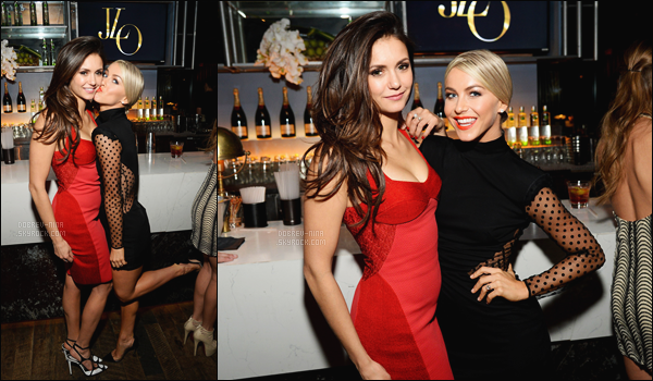 - 22/11/2015 : Apr�s la c�r�monie, Nina �tait pr�sente avec Julianne Hough � l'after party de Jennifer Lopez � LA.   Nina a chang� de robe et a opt� pour un jolie robe rouge moulante qui lui va tr�s bien. Apr�s elles ont �t� rep�r�es quittant le restaurant Craig's. -