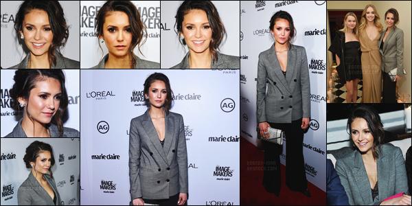 12/01/16: La superbe Nina Dobrev �tait pr�sente au � Marie Claire's Image Maker Awards � - � Los Angeles. Nina �tait vraiment de toute beaut� ce soir, mais malheureusement je ne suis pas tr�s fan de son costume. Par contre un top pour la mise en beaut�