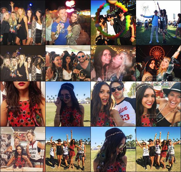 16/04/16: La sublime Nina Dobrev �tait pr�sente au festival de musique � Coachella  � � Indio en Californie. Nina �tait vraiment sublime, je lui donne un top pour sa tenue - je l'adore avec un chapeau (+) D�couvrez les photos personnelles juste en dessous