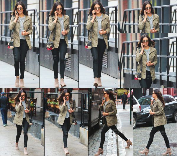 03/05/2016: Nina Dobrev a �t� photographi�e se promenant dans le quartier de � Tribeca � � New York City. Je suis tr�s contente d'avoir un candid de Nina. Je donne un top pour sa tenue, je la trouve tr�s jolie - Donne ton avis sur sa tenue par commentaire