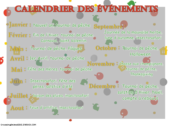 Le calendrier des �v�nement ◘ Animal Crossing : New Leaf 3DS