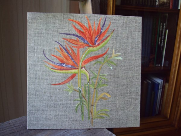 Fleurs exotiques sur lin peinture sur bois for Peinture pour bois exotique