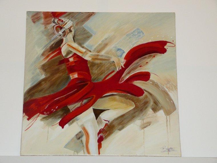 Danseuse n 18 peinture a l 39 acrylique et a l 39 huile portrait au - Peinture les danseuses ...