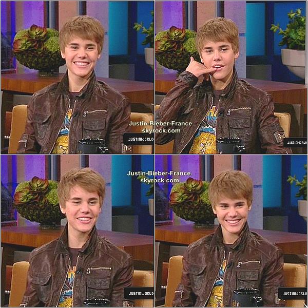 .  Justin Bieber, présent au Tonight Show de Jay Leno.  .