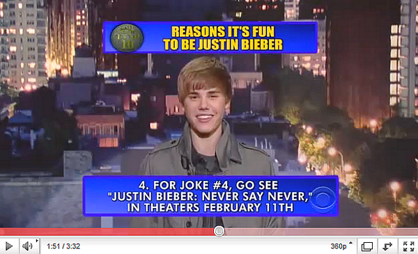 .  EDIT: Top 10 reasons why it's fun to be Justin Bieber.  .