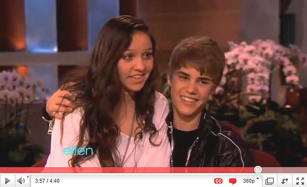 .   Justin, de passage au Ellen Show.  .