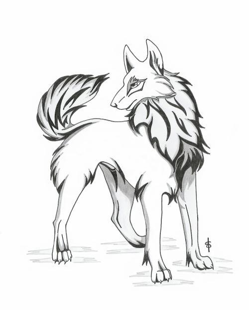 Loup mes dessins mangas - Dessin loup facile ...
