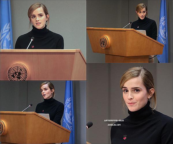 . 20 septembre : Emma �tait pr�sente au lancement de sa campagne Impact 10x10x10 pour HeForShe ! Elle a notamment fait un discours pendant l'�v�nement ! �a fait vraiment plaisir de la revoir apr�s cet �t�, toujours aussi belle et classe !  .