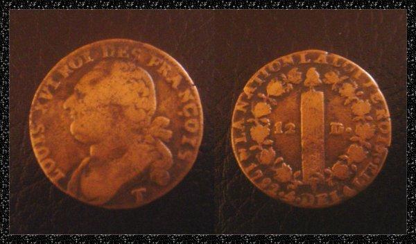 ۞ Pi�ce de monnaie fran�aise  Louis XVI, 1792 ۞