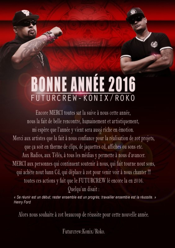 BONNE ANNEE 2016 de la part de Konix et Roko de FUTURCREW