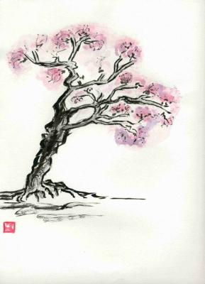 Dessin cerisier japonais shrestamanga - Cerisier en fleur dessin ...