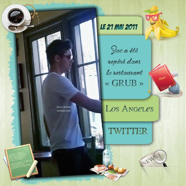 → Zac EFRON // Twitter - . • ˙ • . • ˙ • . • ˙ • . • ˙ • . • ˙ • . • ˙ • . • ˙ • . • ˙ • . •˙ • .  DAILY-ZEFRON ★.•°•.•ZAC DE SORTIE AU RESTAURANT•.•°•.★  « Los Angeles » - . • ˙ • . • ˙ • . • ˙ • . • ˙ • . • ˙ • . • ˙ • . • ˙ • . • ˙ • . •˙ • .  - « 21.05.2011 »