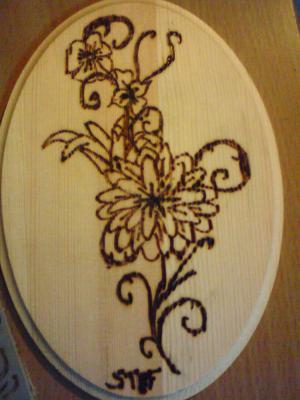 Pyrogravure d 39 une fleur dessin d artiste - Pyrogravure sur bois professionnel ...