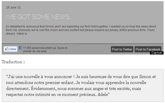Adele est enceinte ! + Commentaires rageux ..