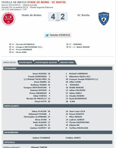 2013 Ligue 1 J12 REIMS BASTIA, 4-2,  le 2 novembre 2013