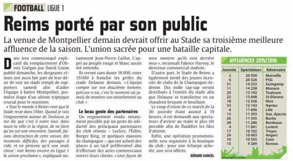 2015 Ligue 1 J36 REIMS MONTPELLIER , l'avant match, le 29/04/2016