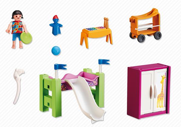 09 maison moderne luxe 5579 chambre d enfant avec lit for Playmobil chambre enfant