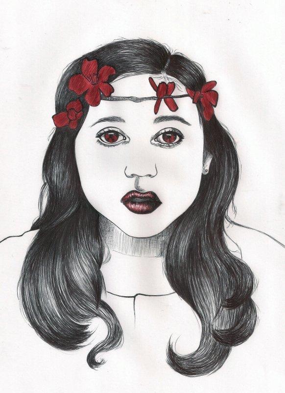 dessin fille stylo bic noir et rouge ^^