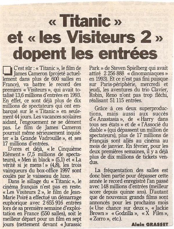 article presse titanic 1998 + bande annonce Gatsby le magnifique