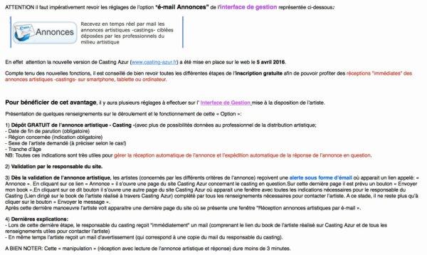 INFORMATION pour les utilisateurs de Casting Azur