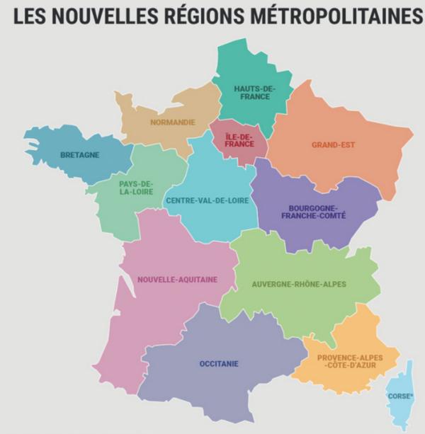 Nouvelles r�gions fran�aises.