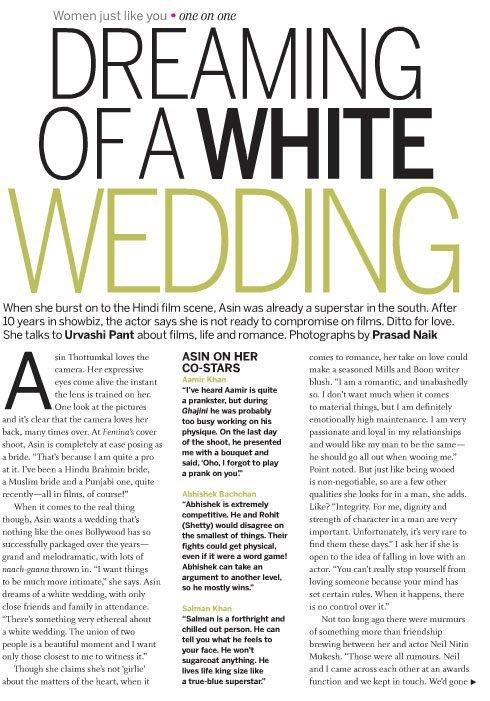 Asin on FEMINA Magazine December 2011