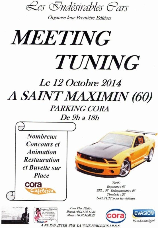 Notre 1 �re Edition � Saint Maximin (60) sur le Parking Cora