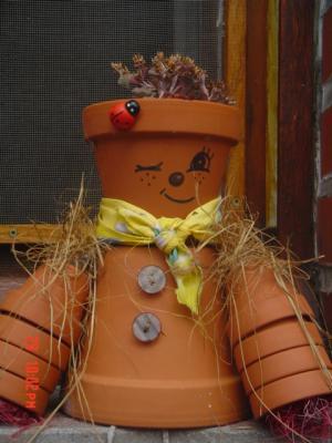 Mes bonhommes en pot de terre cuite v ronique - Bonhomme en pot de fleur ...