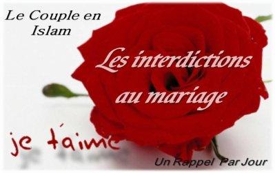 le couple en islam les interdictions au mariage un rappel par jour. Black Bedroom Furniture Sets. Home Design Ideas