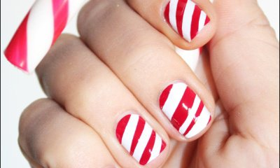 ongles rouge et blanc rayés