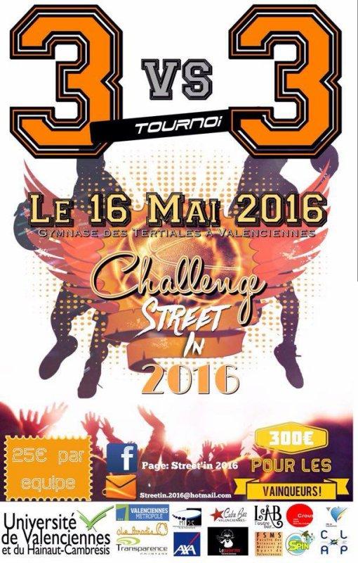 TOURNOI 3 X 3 A VALENCIENNES - Le 16 MAI 2016