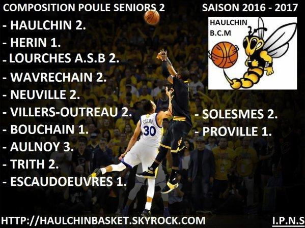 POULES SENIORS MASCULINS 2016 - 2017
