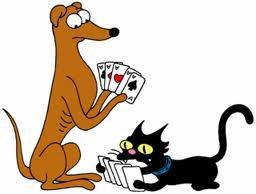 le chien des simpson  et le chat qui joue aux cartes