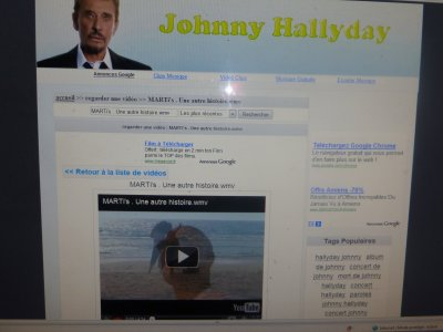Je tiens � remercier Johnny HALLYDAY et son �quipe d'avoir mis huit de mes clips sur son site.
