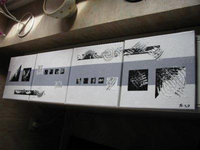 Tableau abstrait 4 x noir blanc gris b tableaux for Tableau noir blanc gris