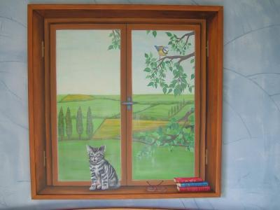Fen tre trompe l 39 oeil peinture for Trompe l oeil fenetre ouverte