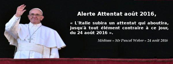Sa Saintet� le Pape Fran�ois, va �tre confront� � un attentat …